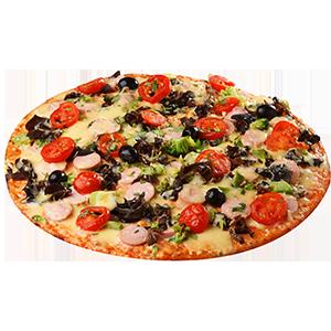 Пицца с древесными грибами и сосисками