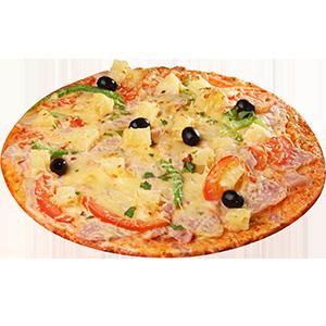 Пицца с ветчиной и фруктами